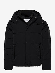 CRINKLE NYLON MID LENGTH JACKET - donsjassen - ck black