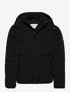 CRINKLE NYLON MID LENGTH JACKET - padded jackets - ck black