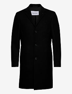 WOOL CASHMERE CROMBIE COAT - wool coats - ck black