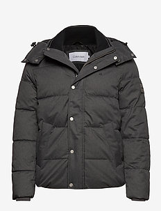 QUILTED WOOL OPTIC HOODED JACKET - donsjassen - dark grey heather