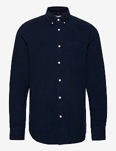 BUTTON DOWN FINE CORDUROY SHIRT - chemises décontractées - calvin navy