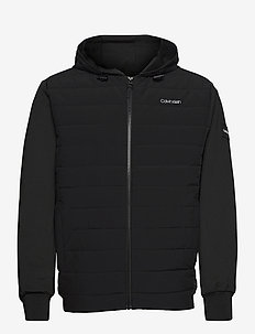 QUILTED NYLON MIX ZIP HOODIE - toppatakit - ck black