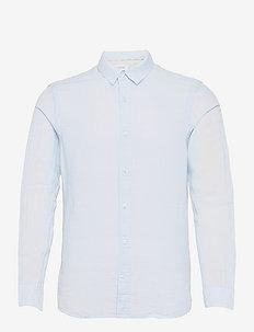 SLIM FIT COTTON LINEN SHIRT - chemises basiques - kingly blue