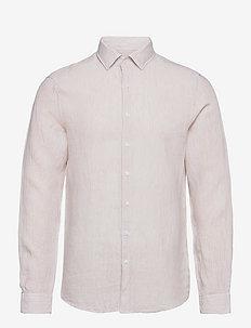 LINEN STRIPE SLIM SHIRT - linen shirts - bleached stone