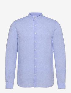 LINEN SOLID SLIM SHIRT - linen shirts - light blue