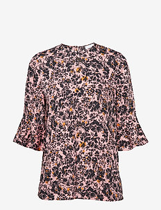PRT PEPLUM SLV BLOUS - long sleeved blouses - blush floral large