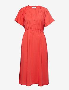 GATHERED WAIST DRESS  SS - CHERRY RED