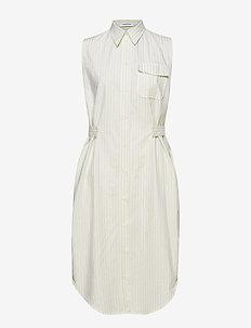 STP BELT DETAIL SHIRT DRESS NS - WHITE / LEMONADE STRIPE