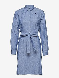 CHAMBRAY BELTED TUNI - shirt dresses - chambray