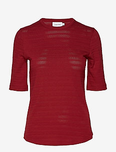 POINTELLE T-SHIRT SS - ck bright burgundy