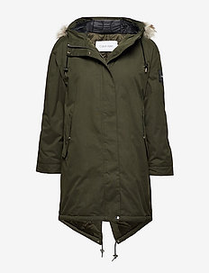 PEACHED DOWN PARKA - DARK OLIVE