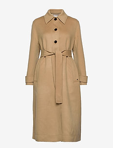 DOUBLE FACE BELTED TRENCH COAT - manteaux en laine - camel