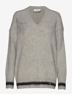 BRUSHED TIPPING V-NK SWEATER - LIGHT GREY HEATHER