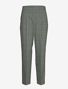 HIGH WAIST PLEATED TAPERED PANT - TAILORING CHECK - APPLE MINT