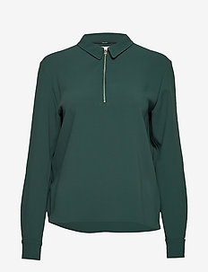TRAVEL CREPE LS ZIP DETAIL TOP - long sleeved blouses - dark teal