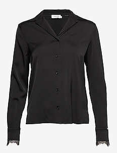 LS LACE TRIM BLOUSE - long sleeved blouses - calvin black