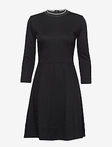 3/4 SLEEVE JERSEY DRESS - CALVIN BLACK