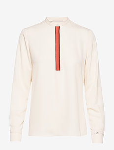 LS PLACKET DETAIL BLOUSE - long sleeved blouses - white smoke