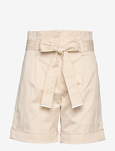 COTTON PAPER BAG WAI - paper bag shorts - white smoke