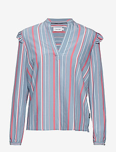LS BOLD STRIPE FRILL - long sleeved blouses - bold stripe - blue heaven / pi