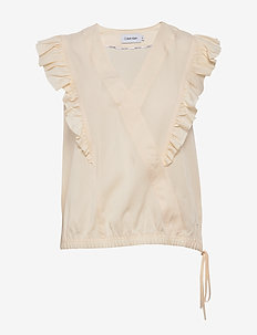 V-NK FRILL TRIM TOP - WHITE SMOKE