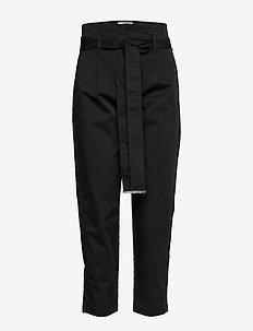 COTTON PAPER BAG WAI - suorat housut - calvin black