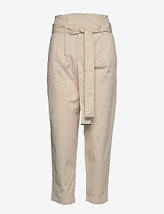 COTTON PAPER BAG WAI - spodnie proste - white smoke