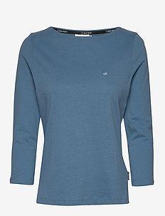 3/4 SLEEVE BOAT NECK - long-sleeved tops - blue heaven
