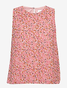 PRT NS PLEAT DETAIL - sleeveless blouses - small floral - pink / black