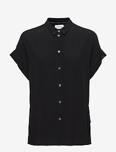 SS TURN UP SHIRT - short-sleeved blouses - calvin black
