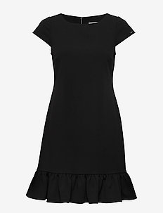 SS RUFFLE HEM DRESS - CALVIN BLACK