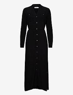 LS V-NECK PKT SHIRT MAXI DRESS - paitamekot - ck black