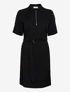 TENCEL 3/4 SLV ZIP UP MINI DRESS - midi kjoler - ck black