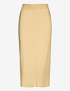 ELASTICATED BIAS CUT MIDI SKIRT - maxi skirts - muted yellow