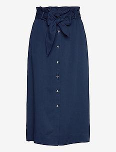 TENCEL PAPER BAG SKIRT - midinederdele - blue jean
