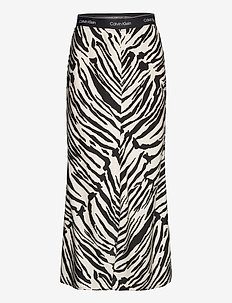 PRT ELASTICATED BIAS  MIDI SKIRT - maxi skirts - zebra - black / white