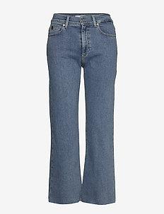 WIDE LEG CROP PANT - broeken met wijde pijpen - natal blue