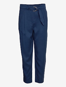 TENCEL PAPER BAG PANT - casual broeken - blue jean