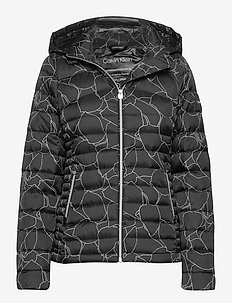 PRT ESSENTIAL DOWN JACKET - padded jackets - linear leaf print - ck black