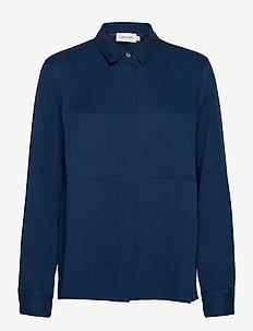 LS TENCEL SIDE SPLIT SHIRT - basic t-shirts - blue jean