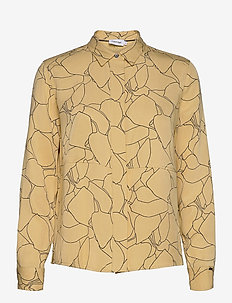 PRT LS TENCEL SIDE SPLIT SHIRT - langermede skjorter - linear leaf print - muted yell