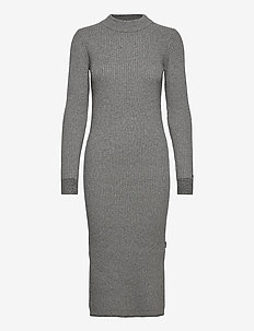 LS ROLL NECK KNITTED MIDI DRESS - stickade klänningar - mid grey heather