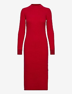 LS ROLL NECK KNITTED MIDI DRESS - midi kjoler - tango red