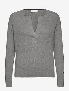 LS OPEN NECK SWEATER - gensere - mid grey heather