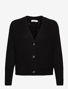 SHORT BUTTON UP FLUFFY CARDIGAN - cardigans - ck black