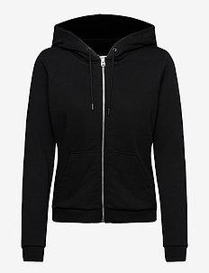LOGO TAPE ZIP THROUGH HOODIE - sweatshirts & hættetrøjer - ck black
