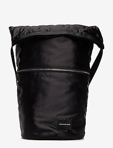 SATIN ROLL TOP HOBO - BLACK