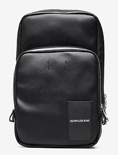 COATED CANVAS SLING - shoulder bags - black