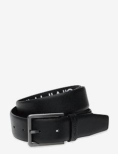 3.5CM ADJ.BOMBED BELT SAFFIANO - belts - black