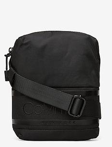 STRIPED LOGO MINI REPORTER - shoulder bags - ck black